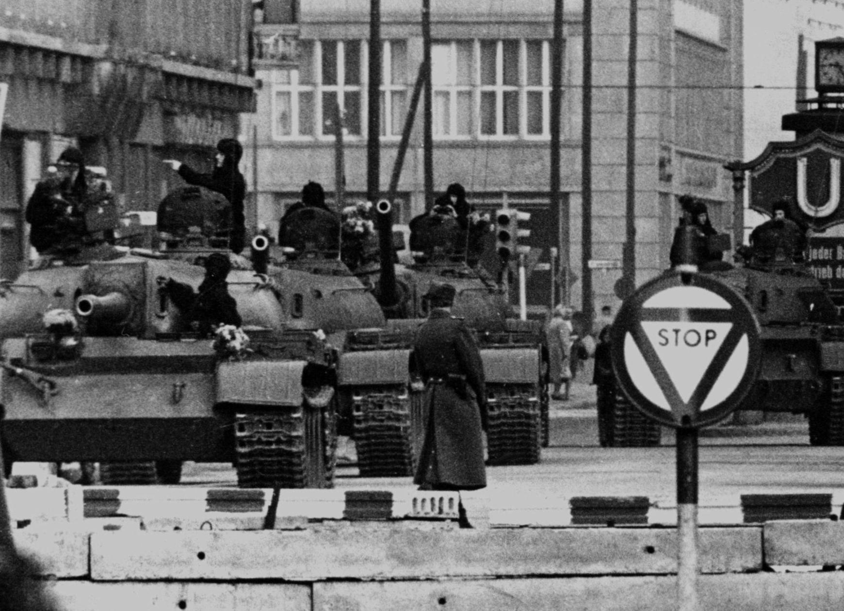 Soviet T-55 tanks at Checkpoint Charlie, October 27, 1961.