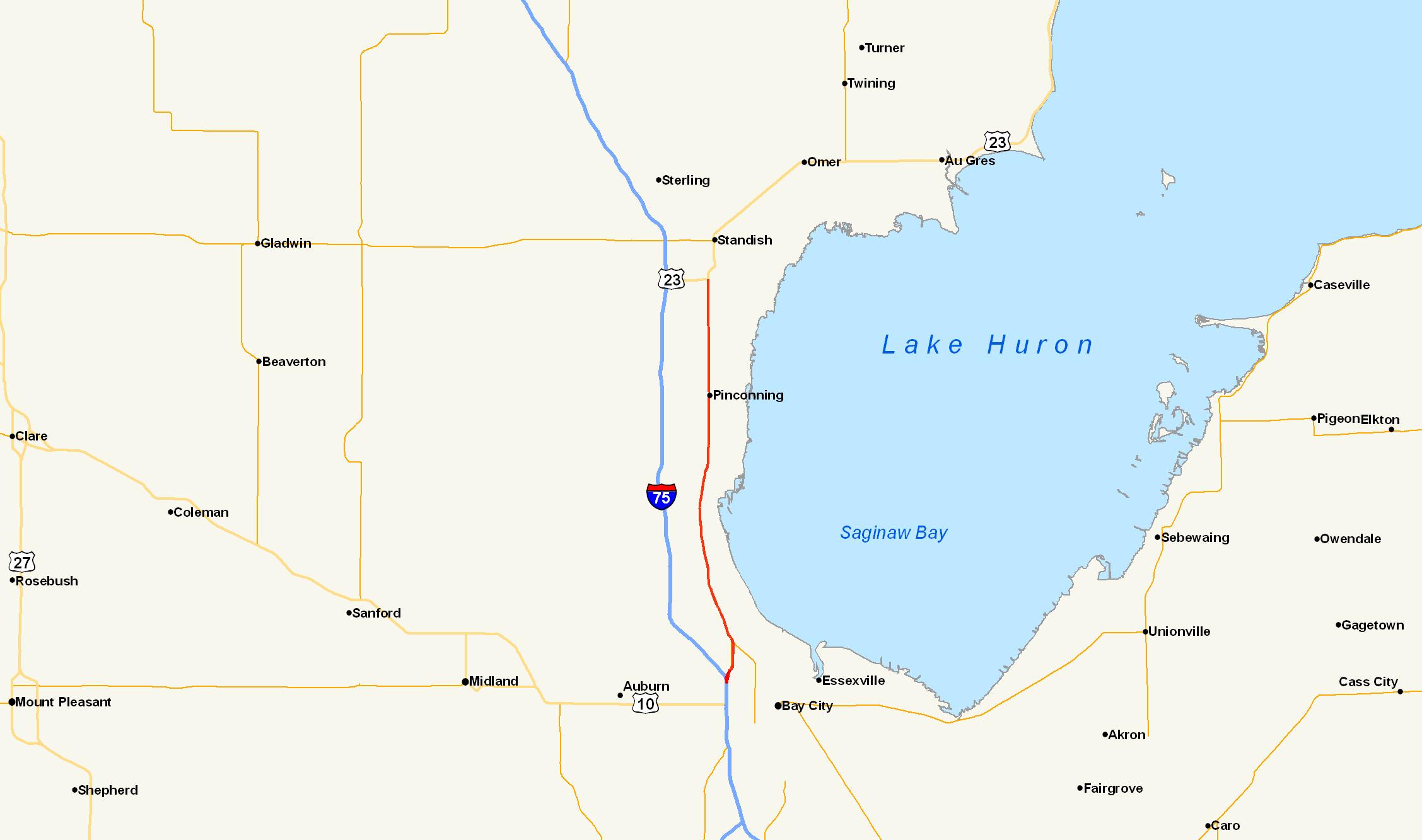 FileUS Alt Standish Michiganpng Wikimedia Commons - Map of us 23 in michigan