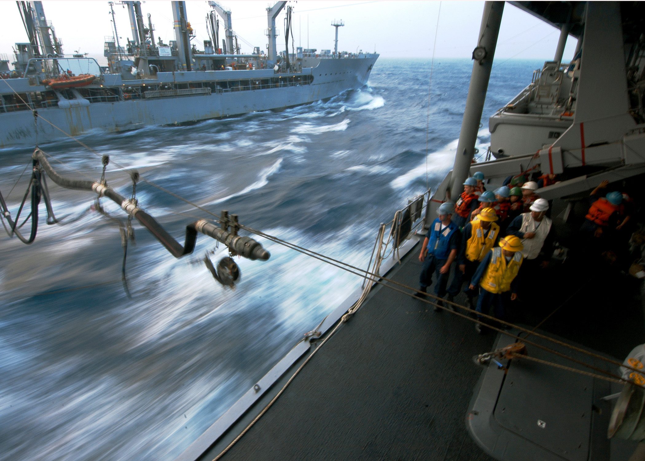 Rough Seas Pound The Hull Of Msc Fast Combat Support Ship