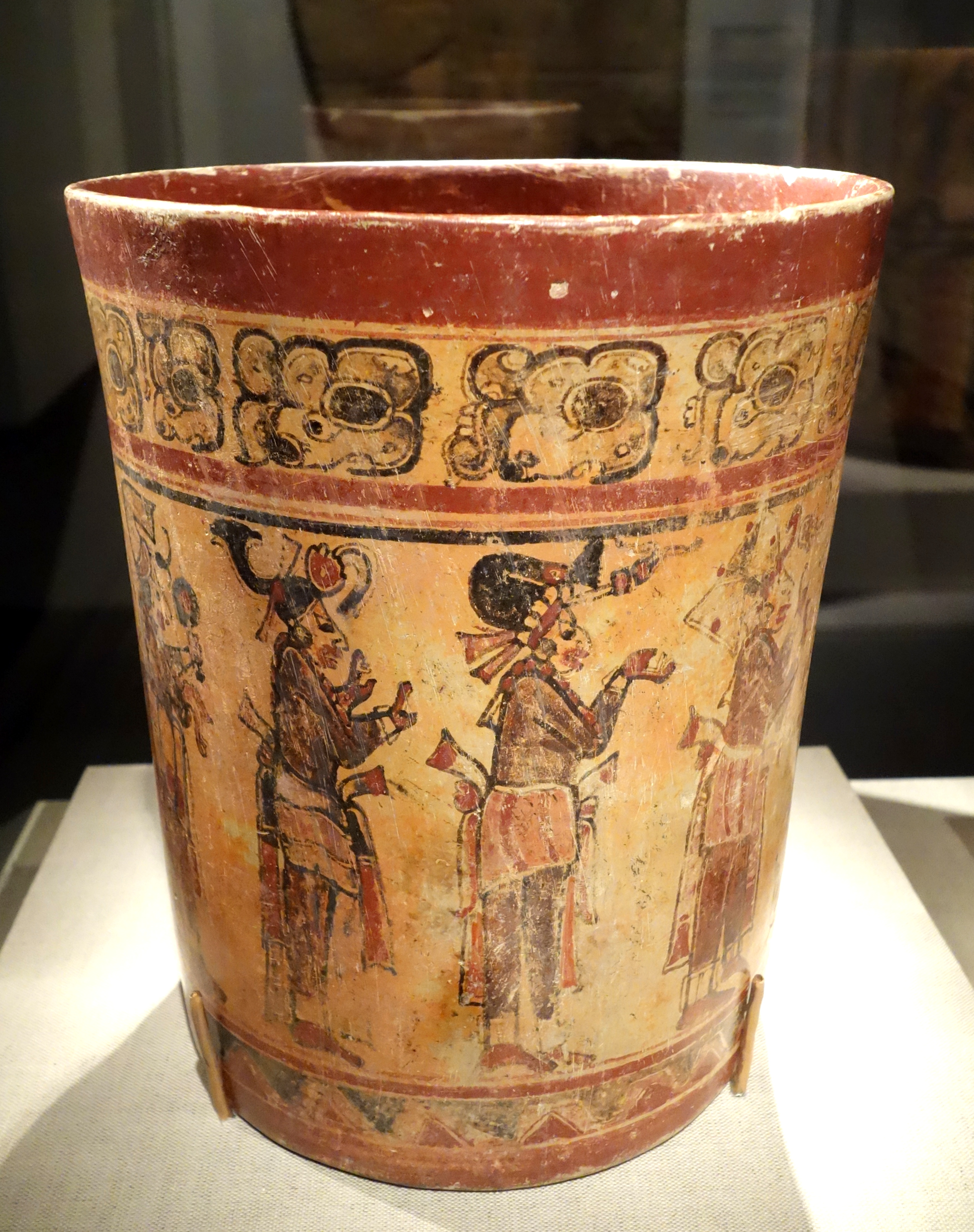 File Vessel With Procession Of Figures Honduras Maya 7th 10th Century Ad Earthenware Polychrome Slip De Young Museum Dsc00696 Jpg