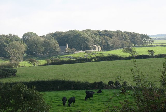 View across the fields towards Llantrisant Old Church - geograph.org.uk - 991885