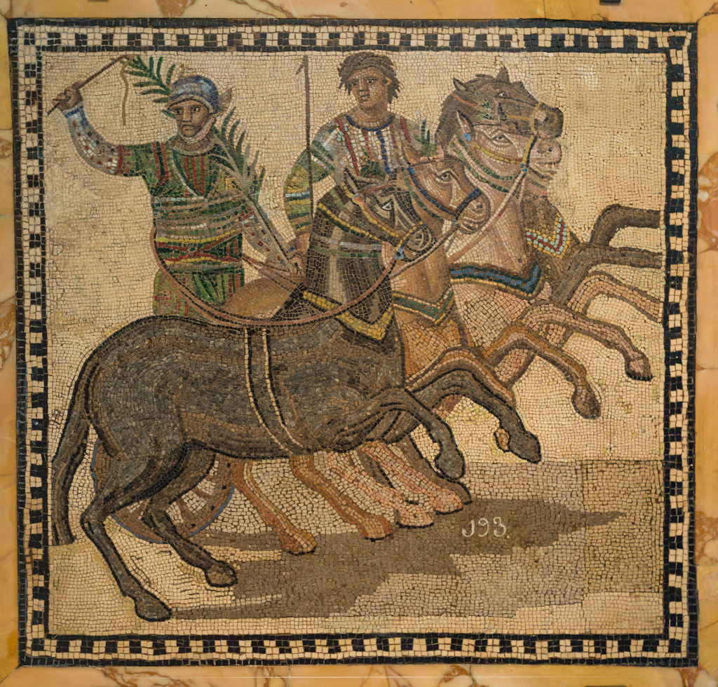 A victor in his four-horse chariot Winner of a Roman chariot race.jpg