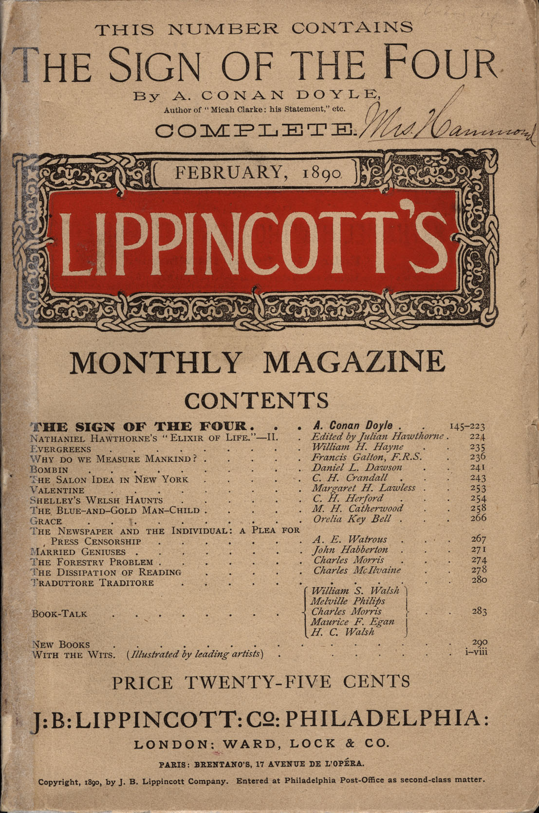 """""""The Sign of the Four"""" in Lippincott's Monthly Magazine (1890).jpg"""