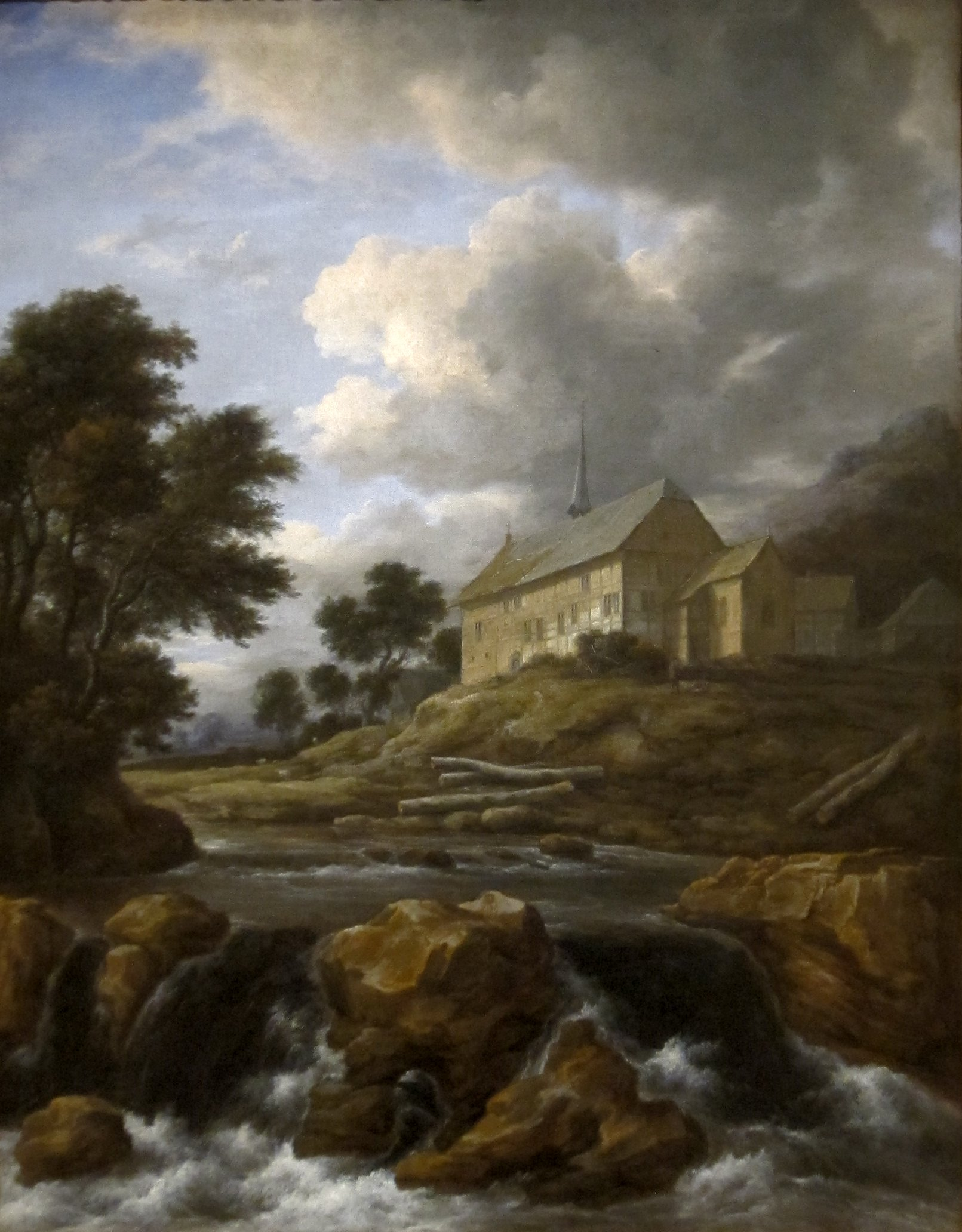 File 39 landscape with a church by a torrent 39 oil on canvas for Oil painting scenery