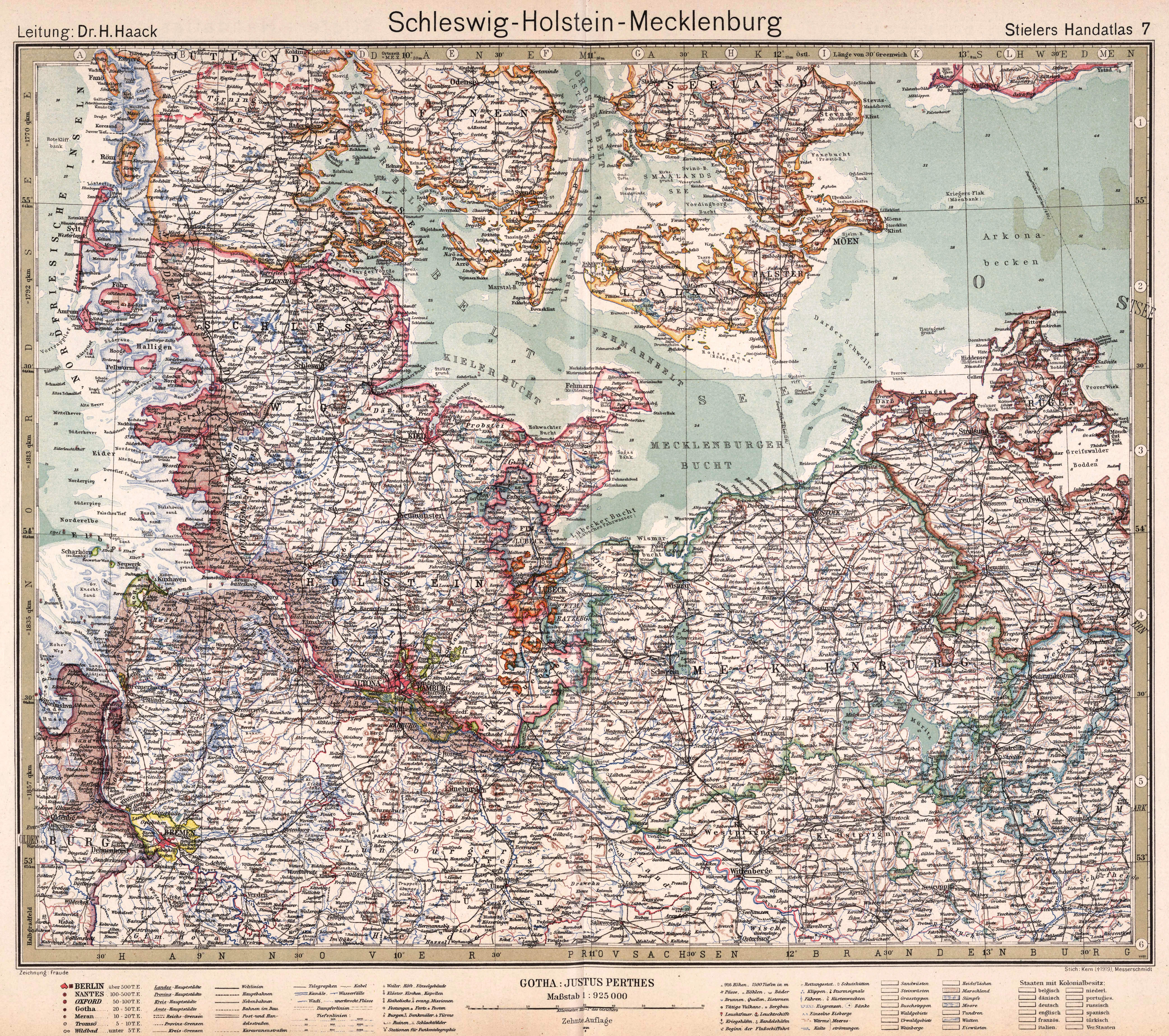 Map Of Germany 1919.File Stielers Handatlas 1925 Map 7 Germany 1919 1937 Schleswig