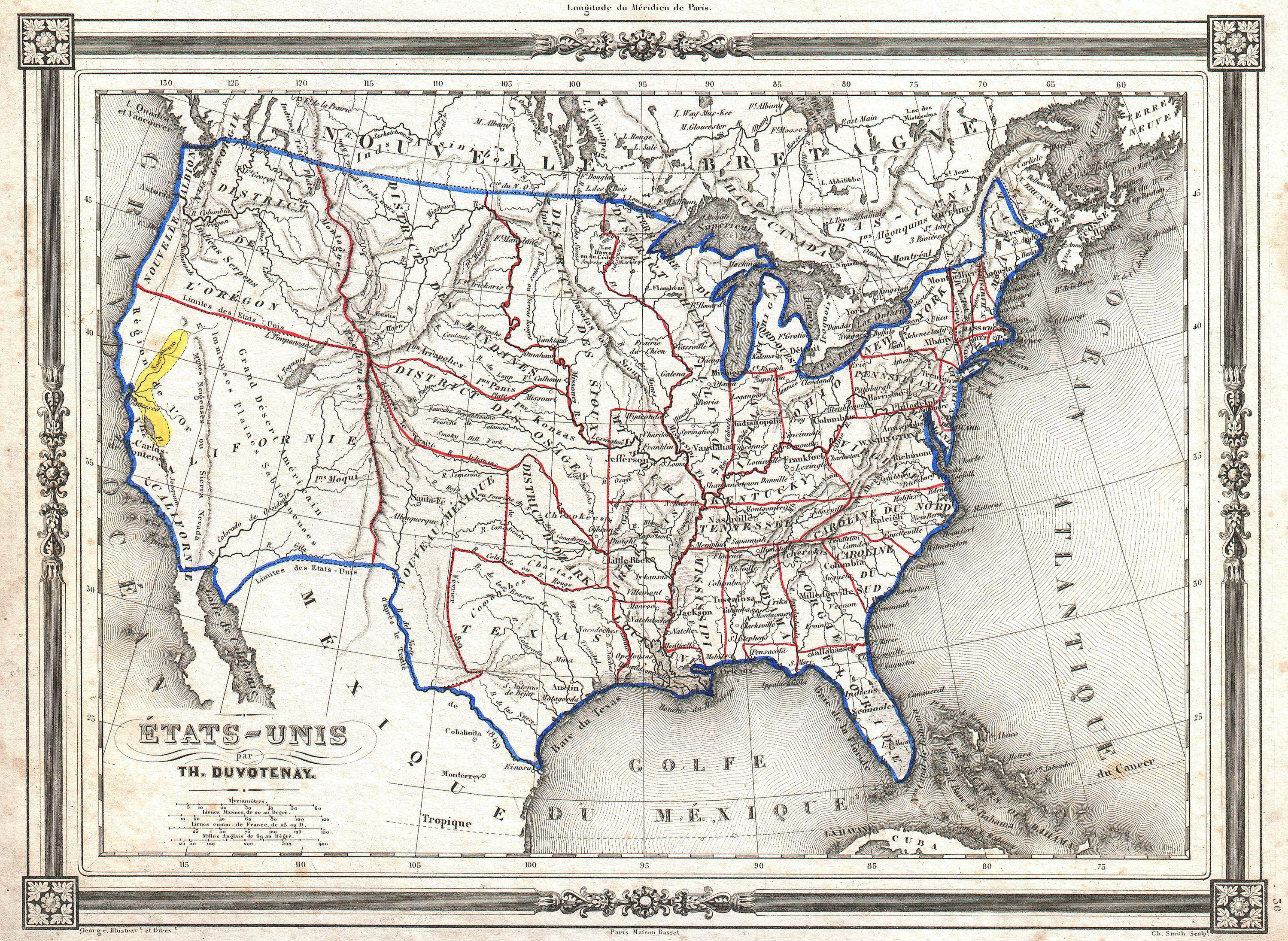 File1852 Duvotenay Map Of The United States Gold Rush