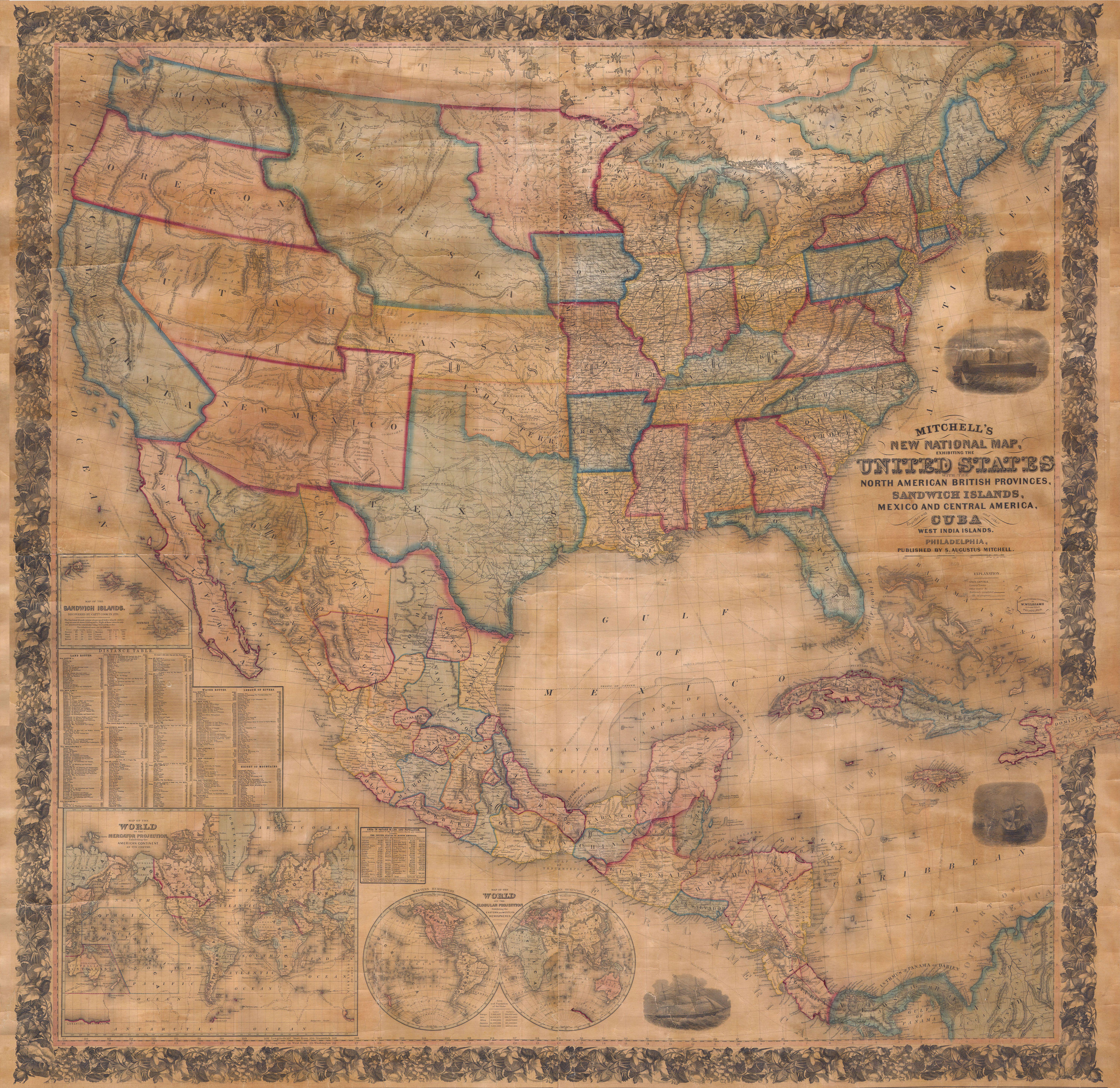 File Mitchell Wall Map Of The United States And North America - Is united states north america