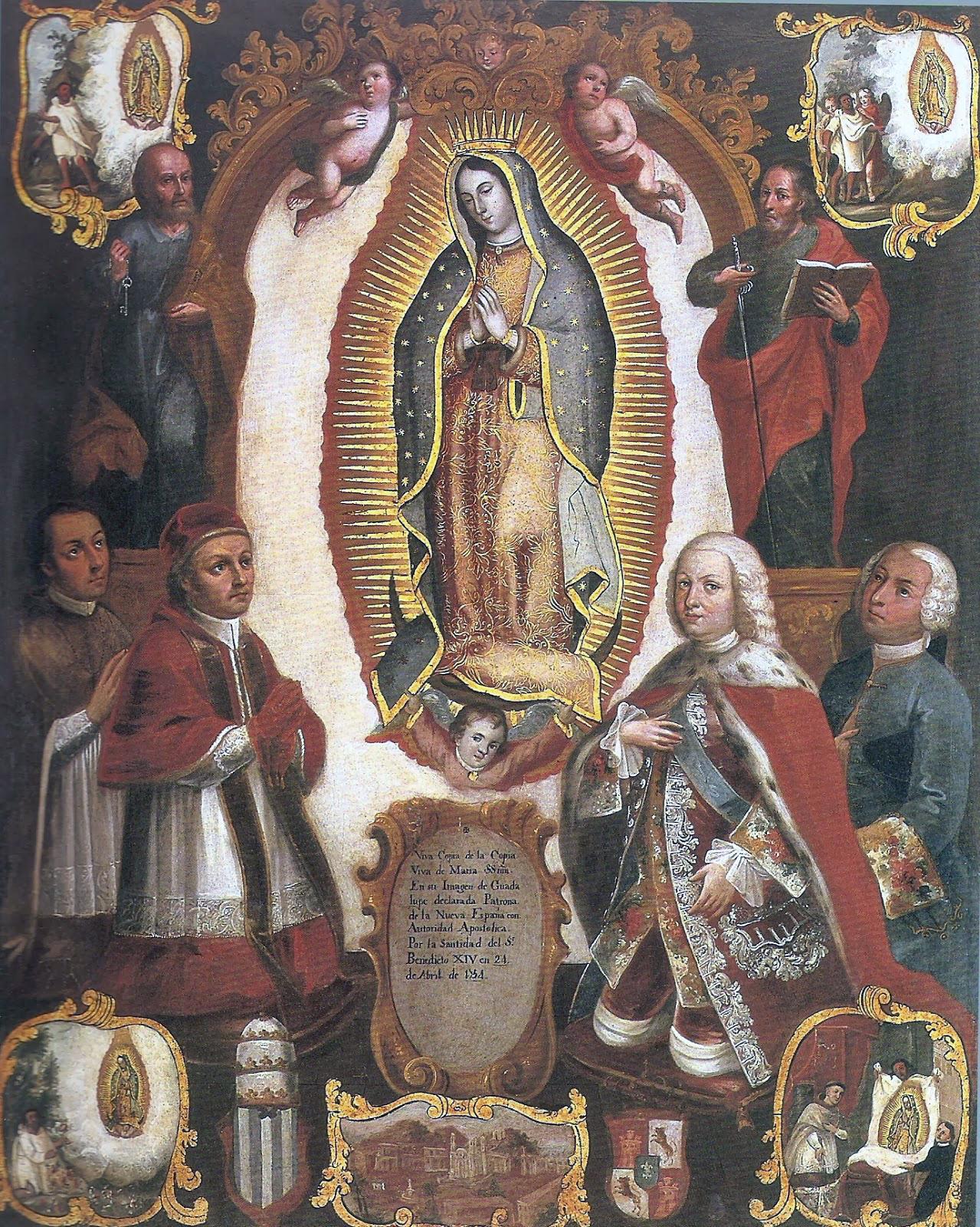 Alegoría de la declaración pontifica de '''Benedicto XIV''' el 24 de abril de 1754 del patronato Guadalupano sobre la [[Nueva España