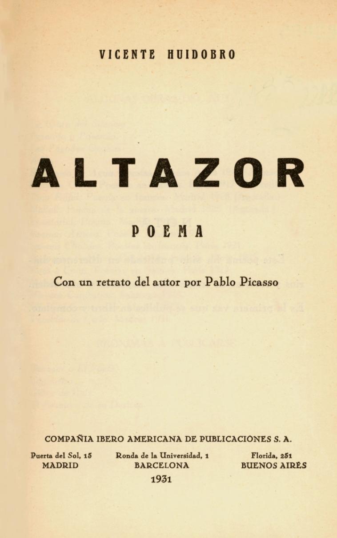 Portada de Altazor (1931).