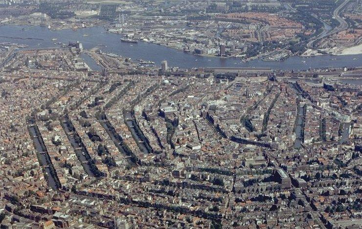 An aerial photograph of the canals of Amsterdam