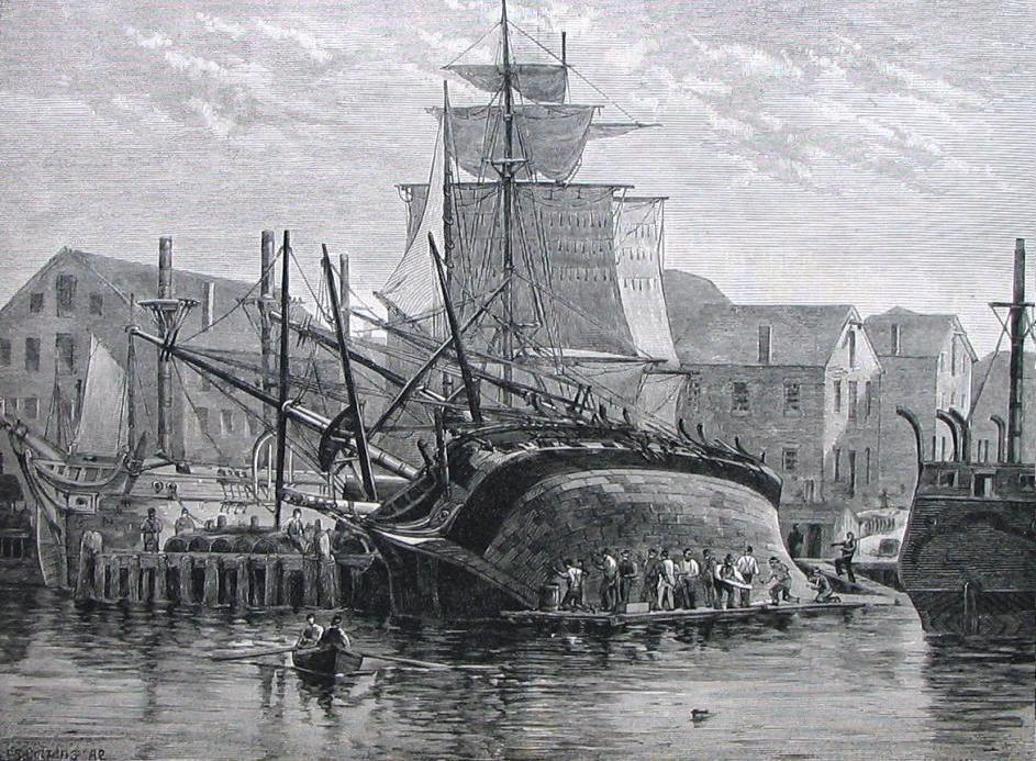 File An Old Whaler Hove Down For Repairs Near New Bedford