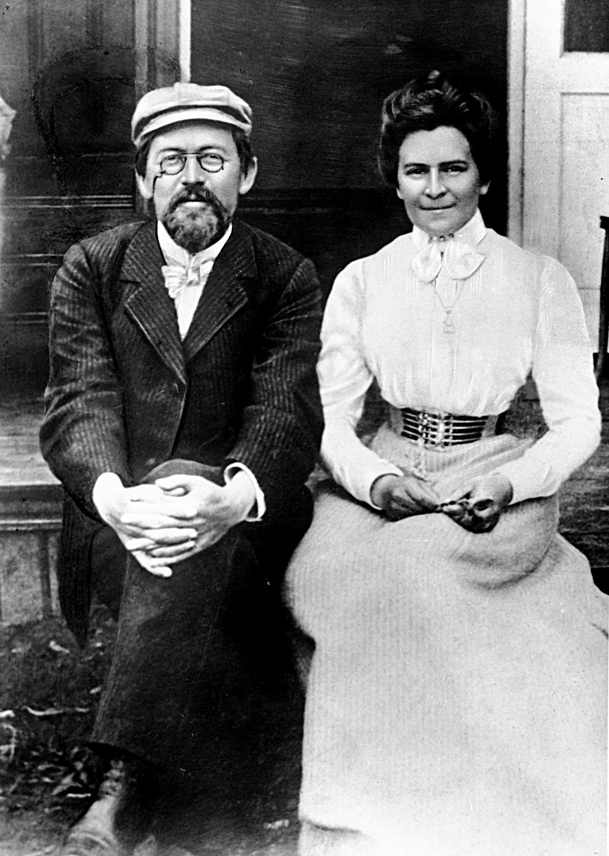 [Knipper with Chekhov on their honeymoon in 1901.]