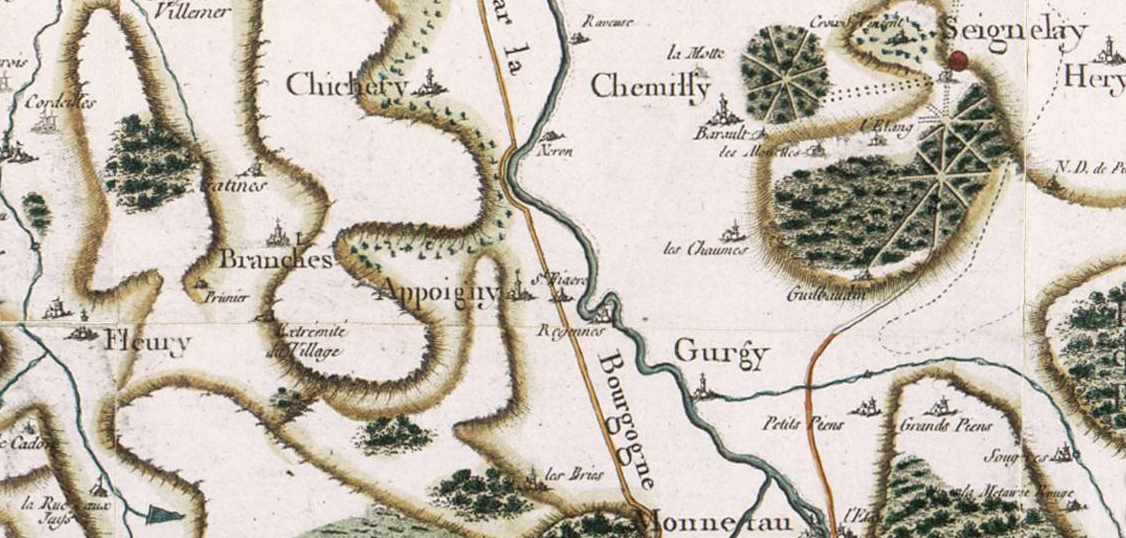 Cassini map of Appoigny and surroundings.
