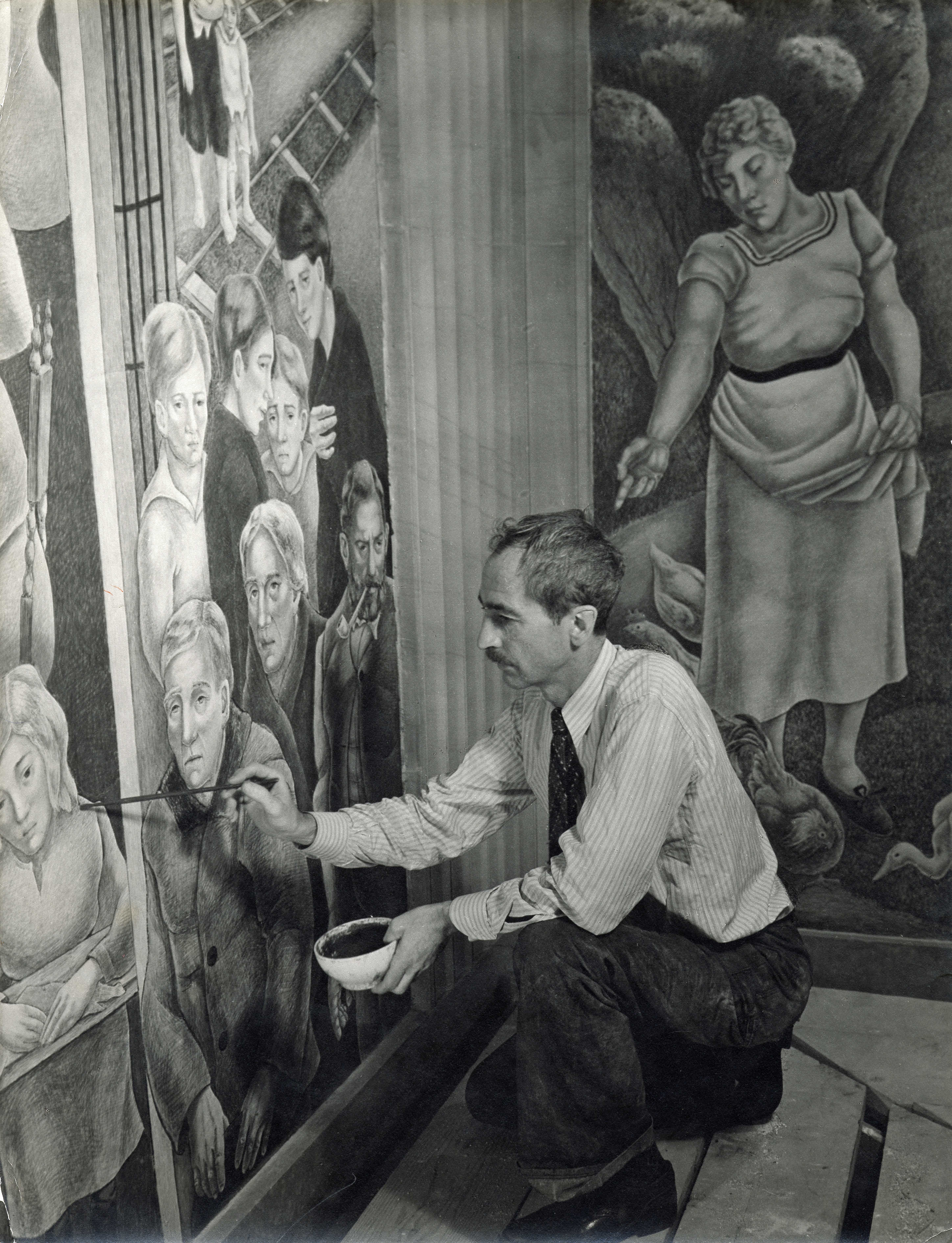 George Biddle in 1936, at work on his mural ''Society Freed Through Justice'', in the [[Robert F. Kennedy Department of Justice Building