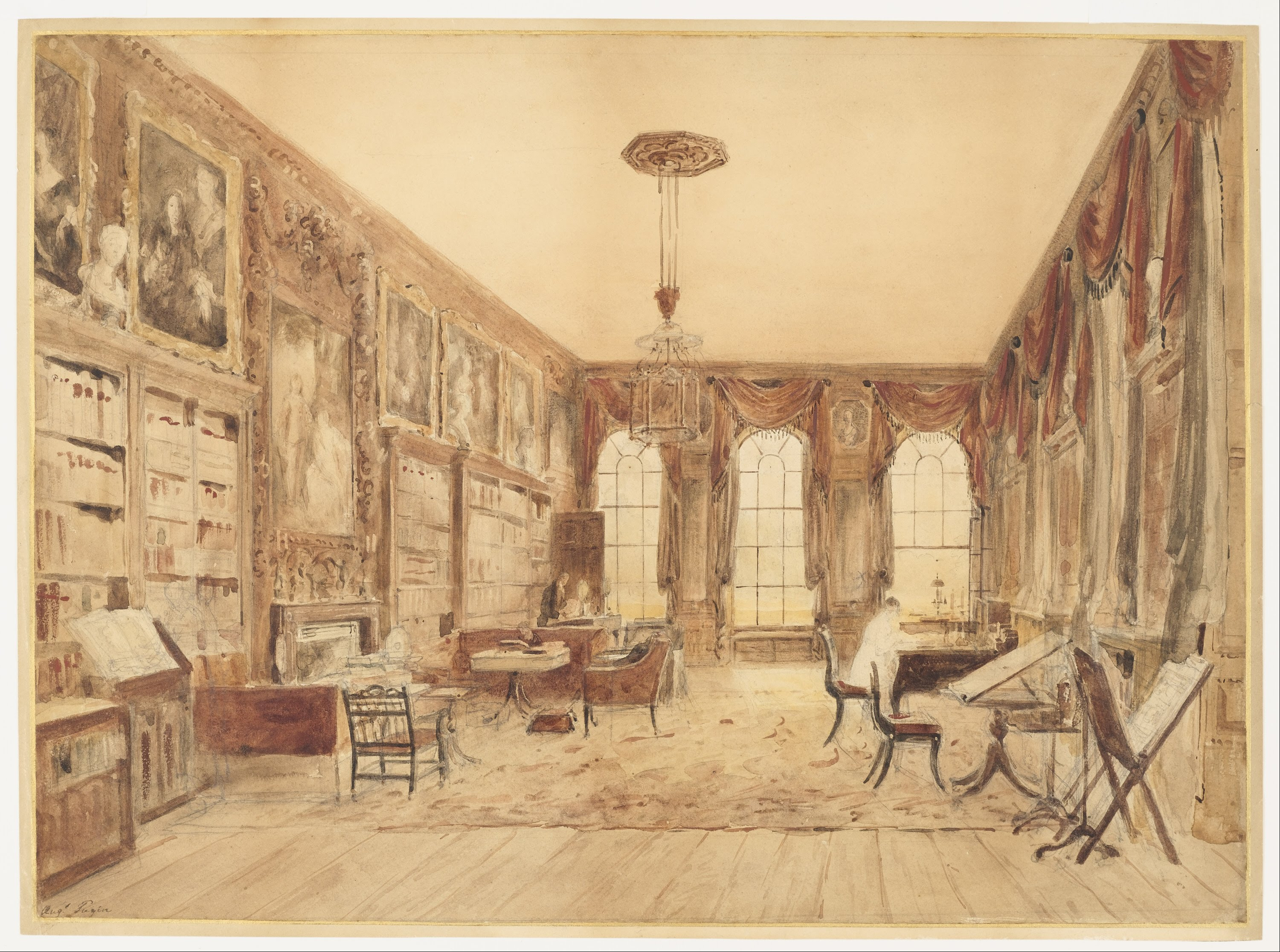 File Augustus Charles Pugin The Interior Of The Library At  # Augustus Pugin Muebles