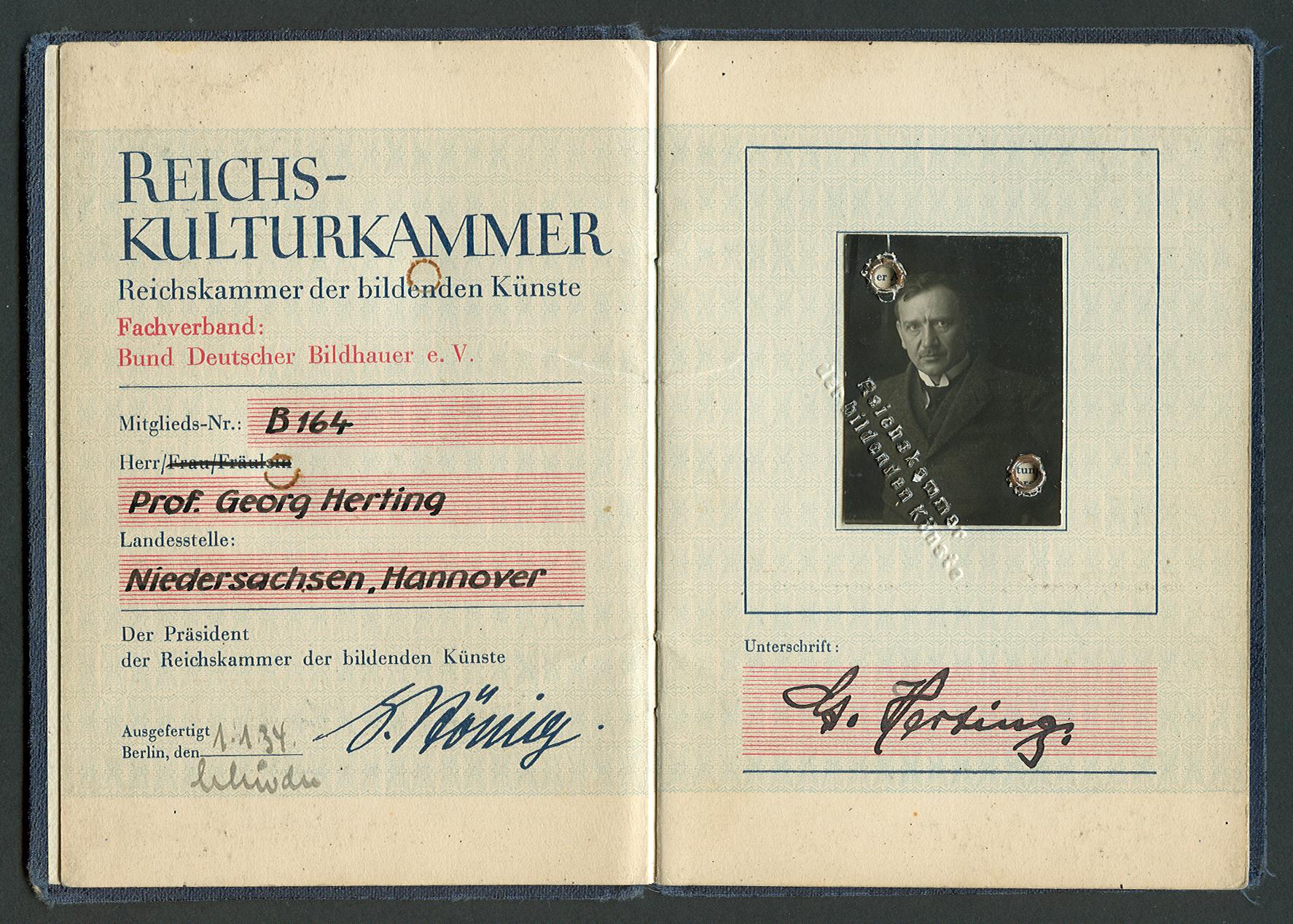 File:Ausweis Professor Georg Herting Reichskulturkammer ...