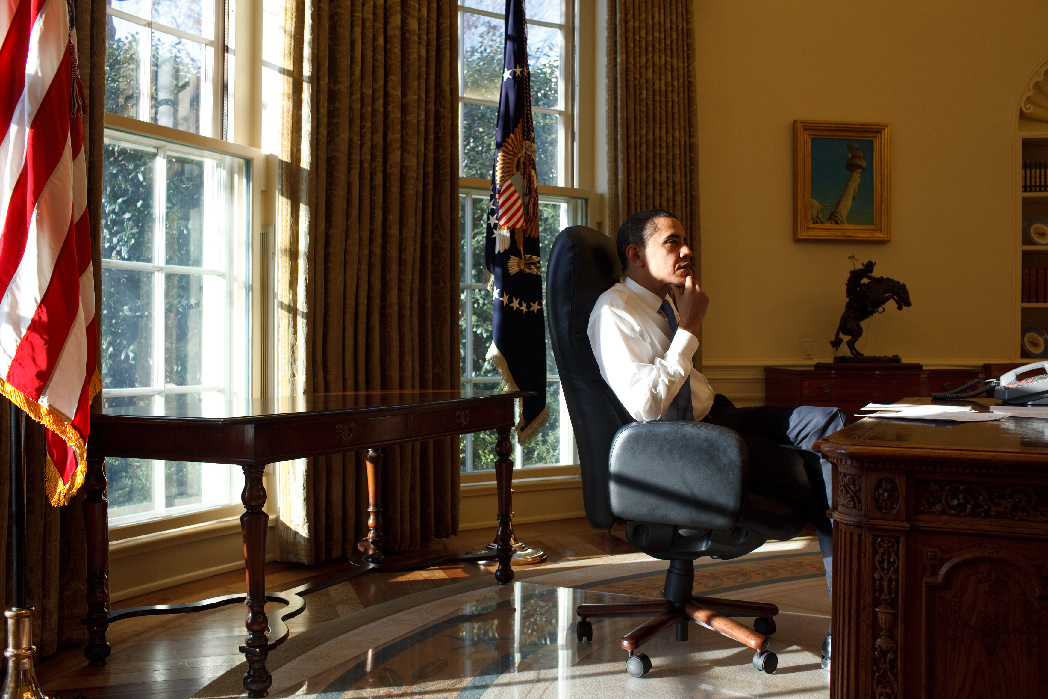 obamas oval office. File:Barack Obama Thinking, First Day In The Oval Office.jpg Obamas Office Y
