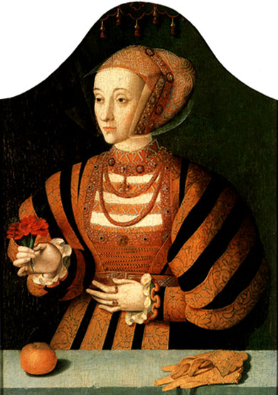 A portrait of Anne in the 1540s by Bartholomaus Bruyn the elder. Bruyn Anne of Cleves.jpg