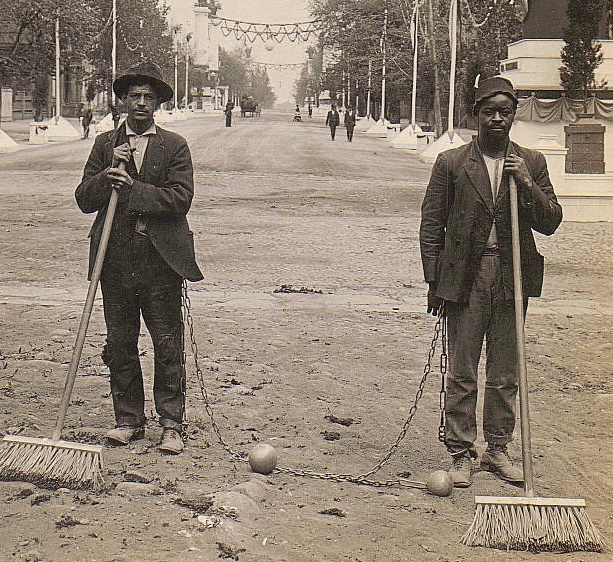 Chain Gang Street Sweepers, 1909