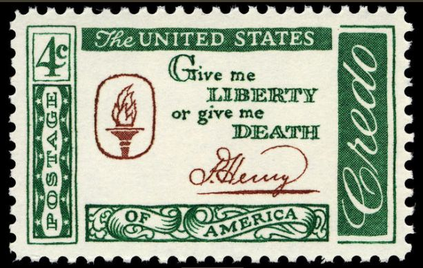 """Credo Liberty or Death"" by US Post Office - US Post OfficeSmithsonian National Postal MuseumPhoto image obtained/rendered by Gwillhickers.. Licensed under Public domain via Wikimedia Commons - https://commons.wikimedia.org/wiki/File:Credo_Liberty_or_Death.jpg#mediaviewer/File:Credo_Liberty_or_Death.jpg"