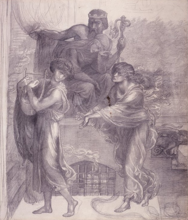 An image of Orpheus and Eurydice. The ancient Greeks believed violets blossomed wherever Orpheus laid his lute.