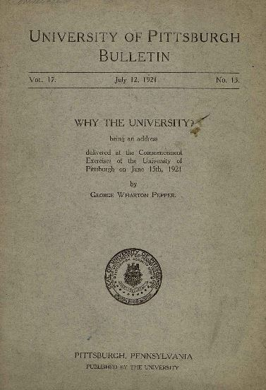 George Wharton Pepper commencement address bulletin cover at the University of Pittsburgh 1921.JPG