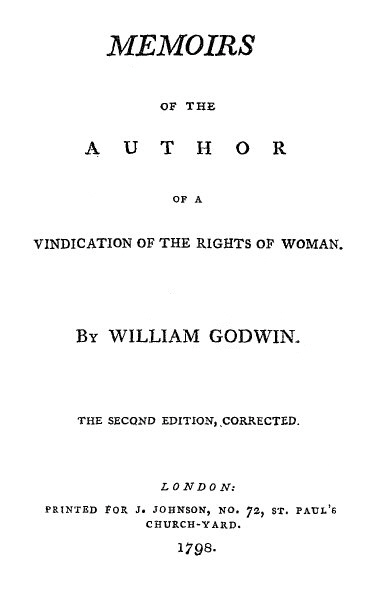 Title page for Godwin's Memoirs of the Author of A Vindication of the Rights of Woman (1798) GodwinMemoirs.jpg