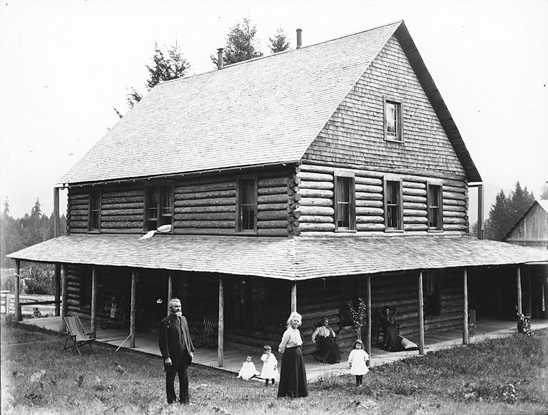 File Homesteaders In Front Of Log House Probably