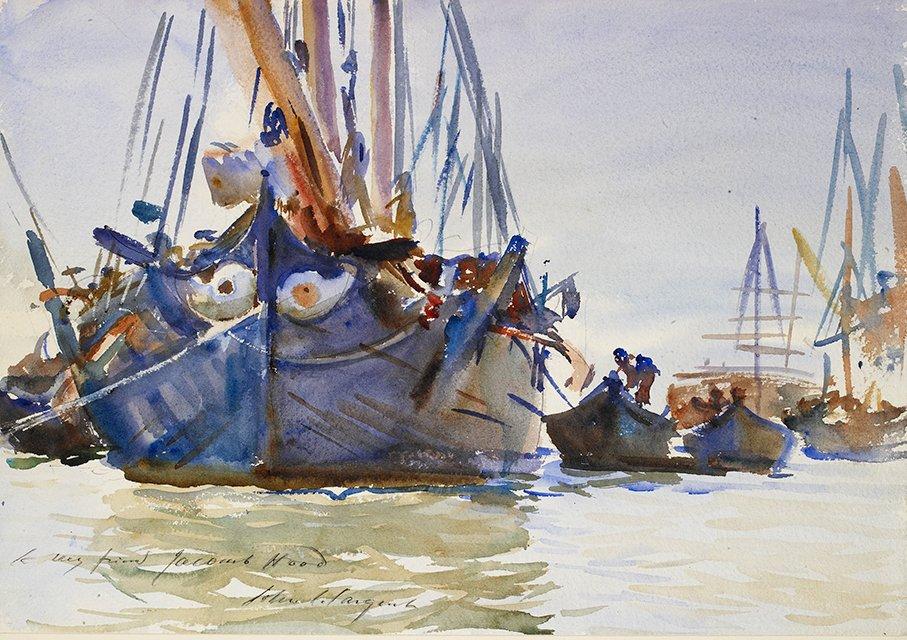 """Italian Sailing Vessels at Anchor"" (1907) tableau de John Singer Sargentau Ashmolean Museum d'Oxford."