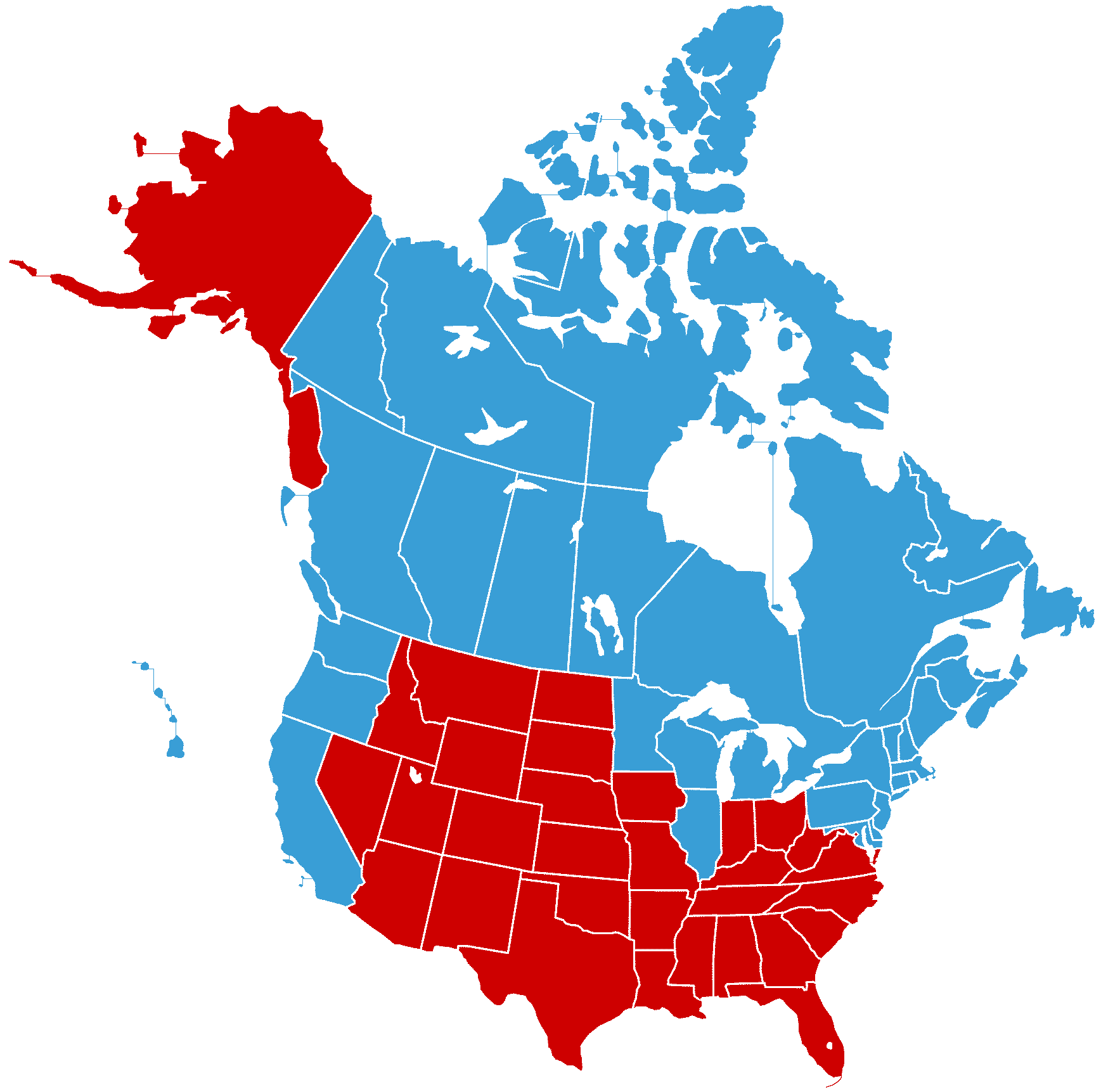 Vector Map Of North America With US States And Canadian Provinces