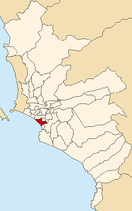Location of Miraflores in Lima province