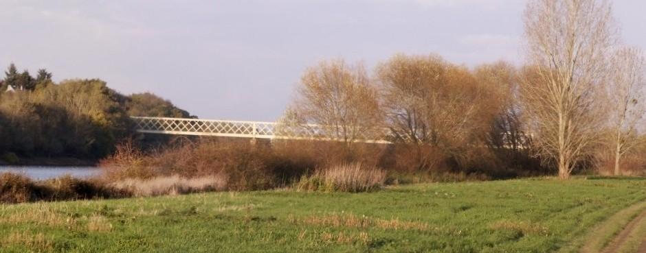 La Maine à Sainte-Gemmes-sur-Loire, le pont de Pruniers; Maine-et-Loire, France