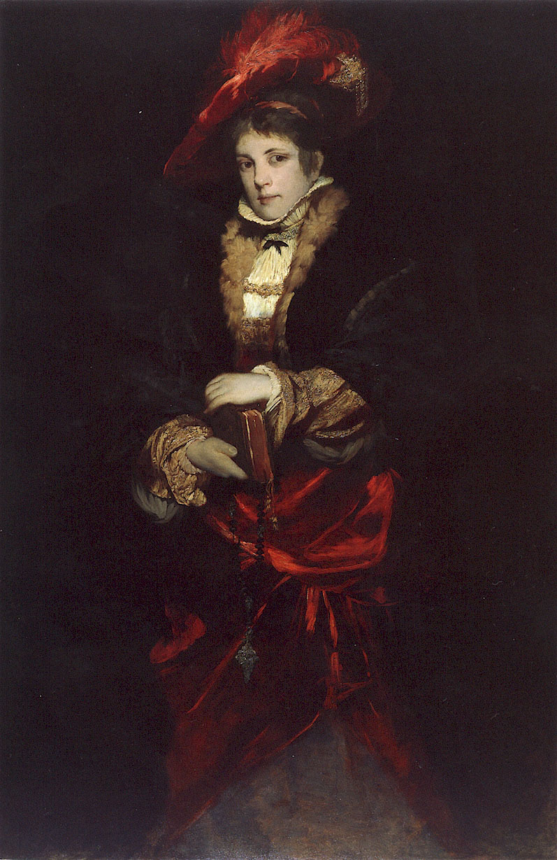 Makart hans Portrait of a Lady with Red Plumed Hat.jpg