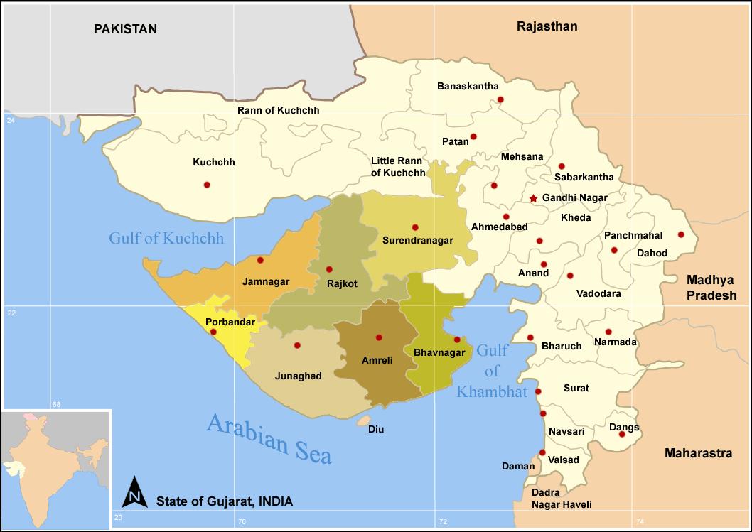 Carte Inde Ahmedabad.District De Porbandar Wikipedia