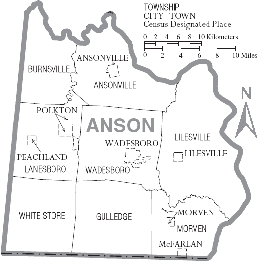 Filemap Of Anson County North Carolina With Municipal And: Map Of Anson County Nc At Slyspyder.com