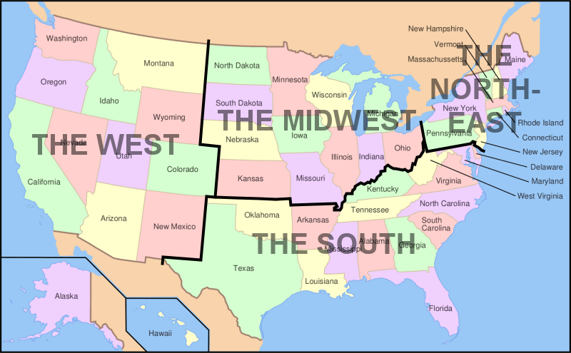 Usa Map Showing Regions
