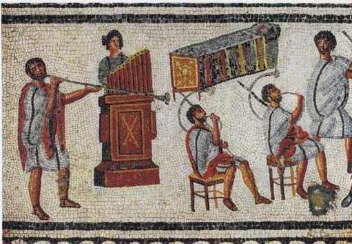 A mosaic of musicians playing a Roman tuba, a pipe organ, and a pair of cornua.