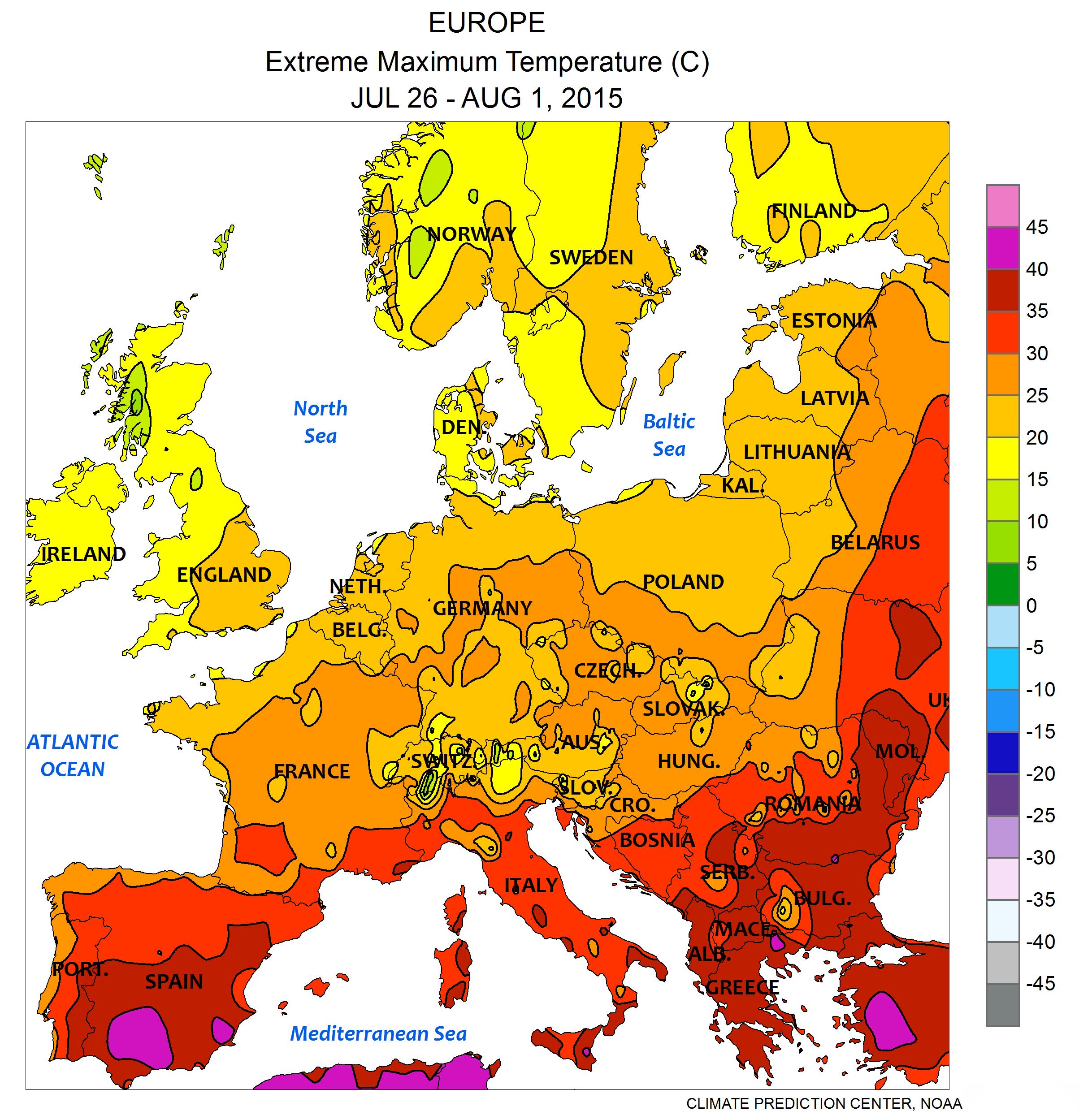 temperaturer i europa i juli