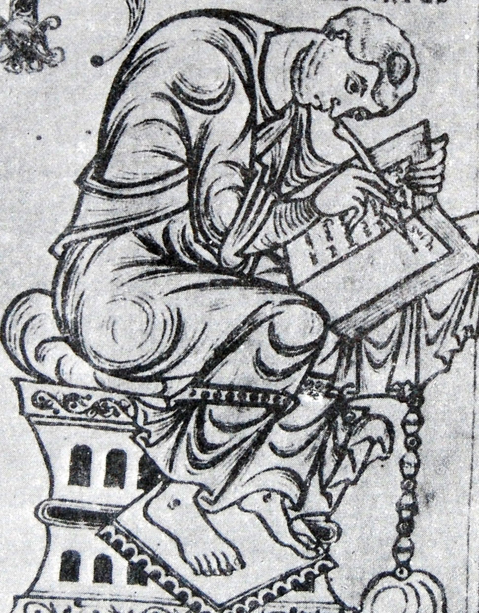Paulus Orosius, shown in a miniature from the Saint-Epure codex.