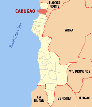 Map of Ilocos Sur showing the location of Cabugao