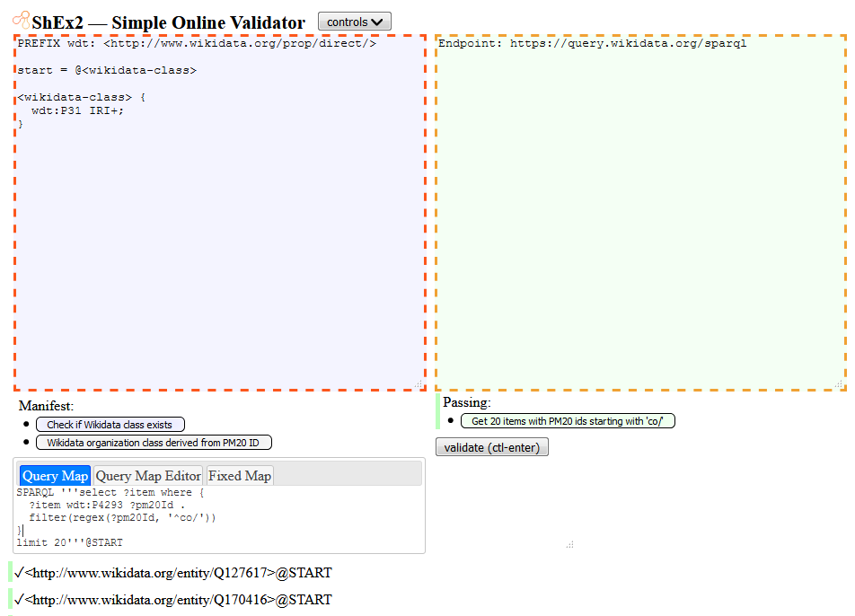 Example Shape Expressions validation in ShEx2