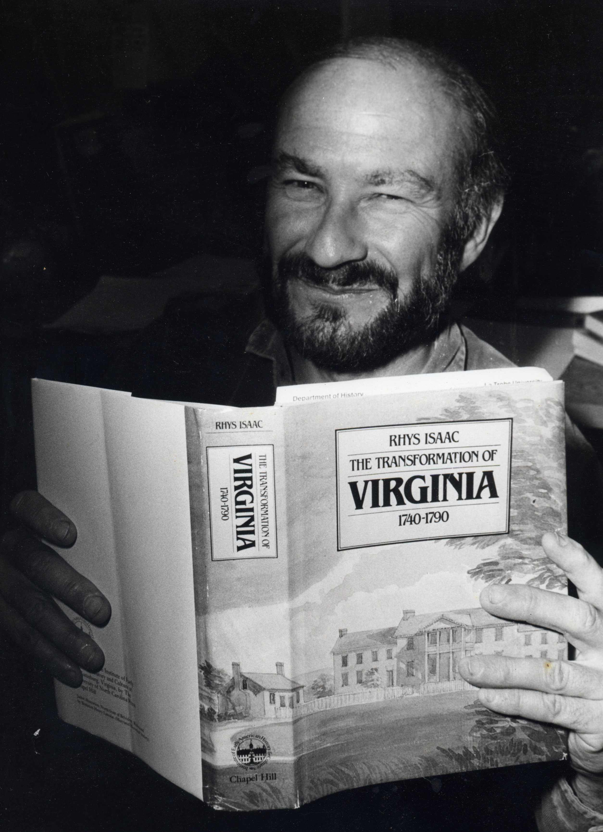 Rhys Isaac with book 1983