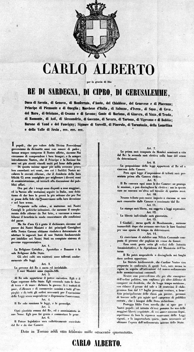 Schema statuto albertino e costituzione