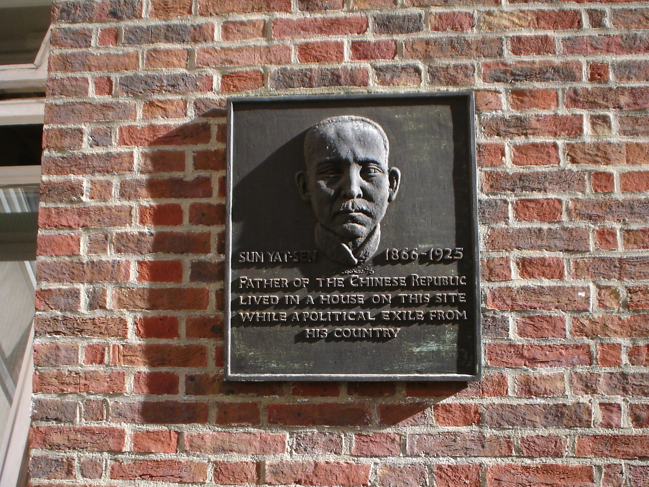 Plaque in London marking the site of a house where Sun Yat-sen lived while in exile