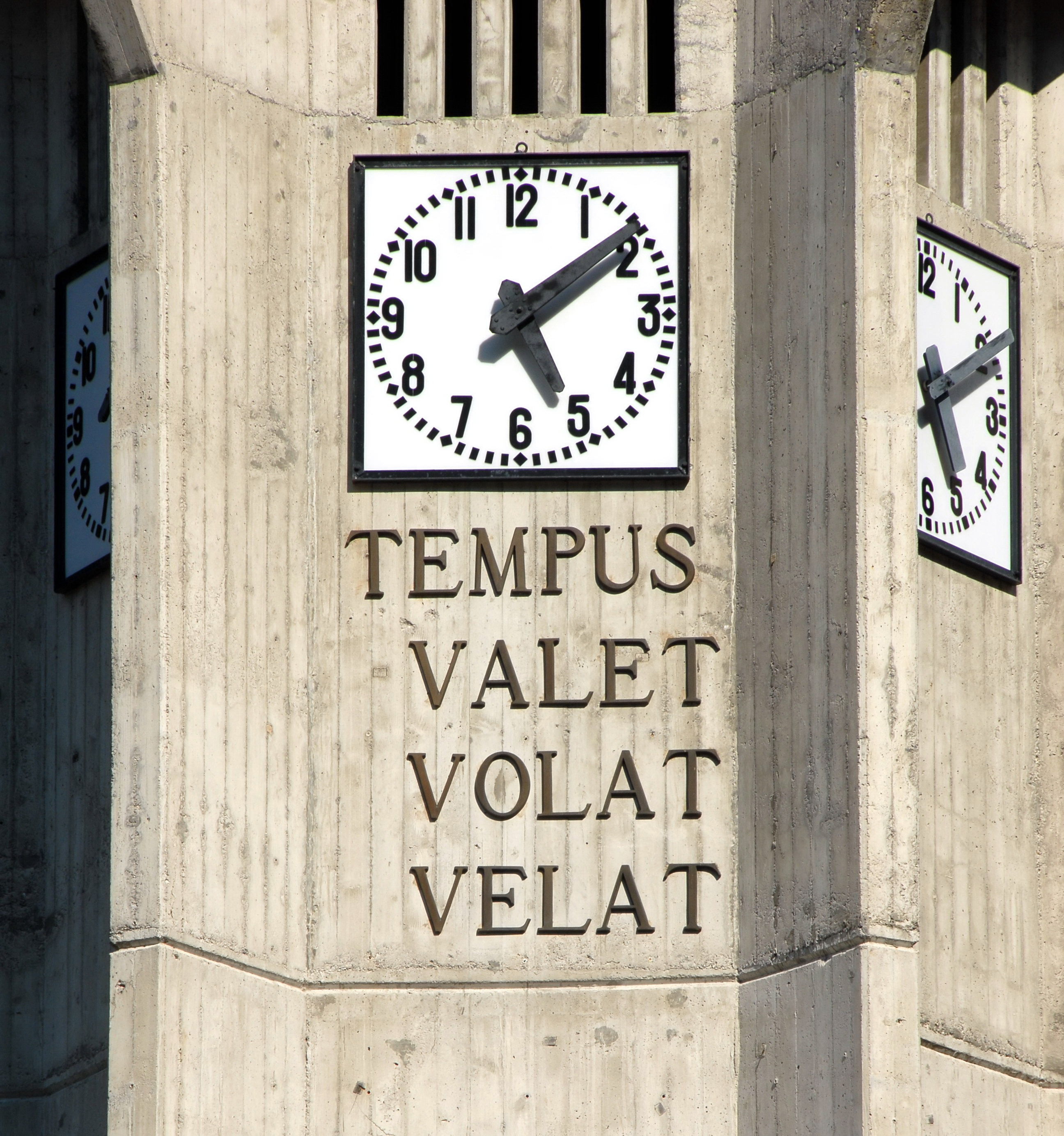 Inscription: Tempus valet volat velat (trad. time is worth, flies, clouds)