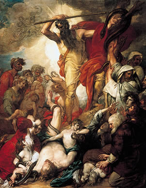 Moses lifts up the brass serpent, curing the Israelites from poisonous snake bites in a painting by Benjamin West.