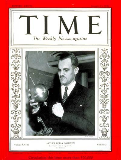 Compton on the cover of Time Magazine on January 13, 1936, holding his cosmic ray detector Time Cover Arthur H Compton.jpg
