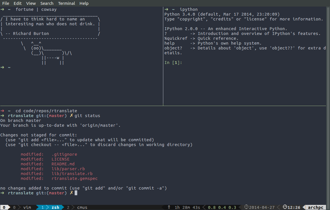 Example of a tmux display