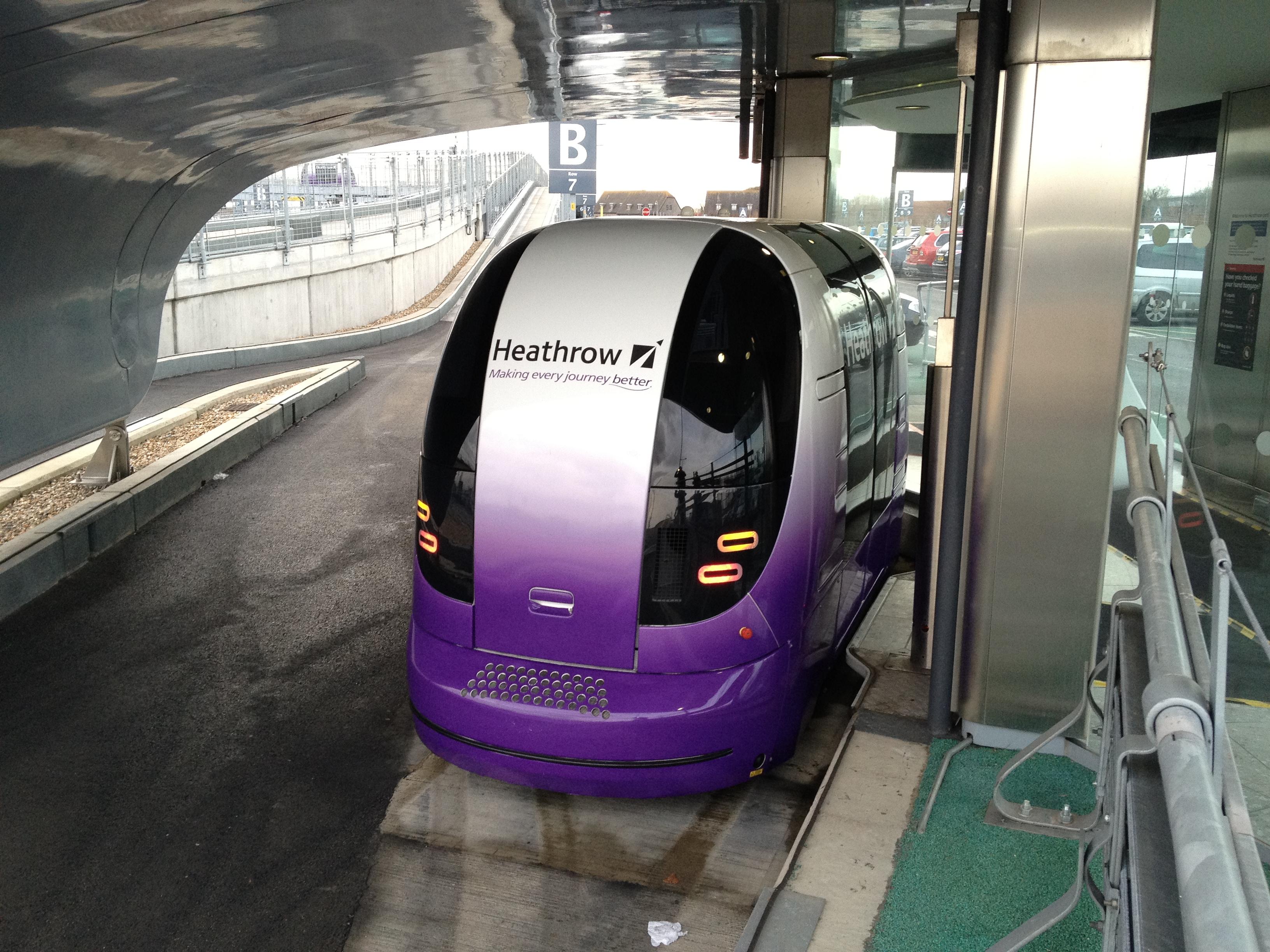 Driverless pod at Heathrow airport