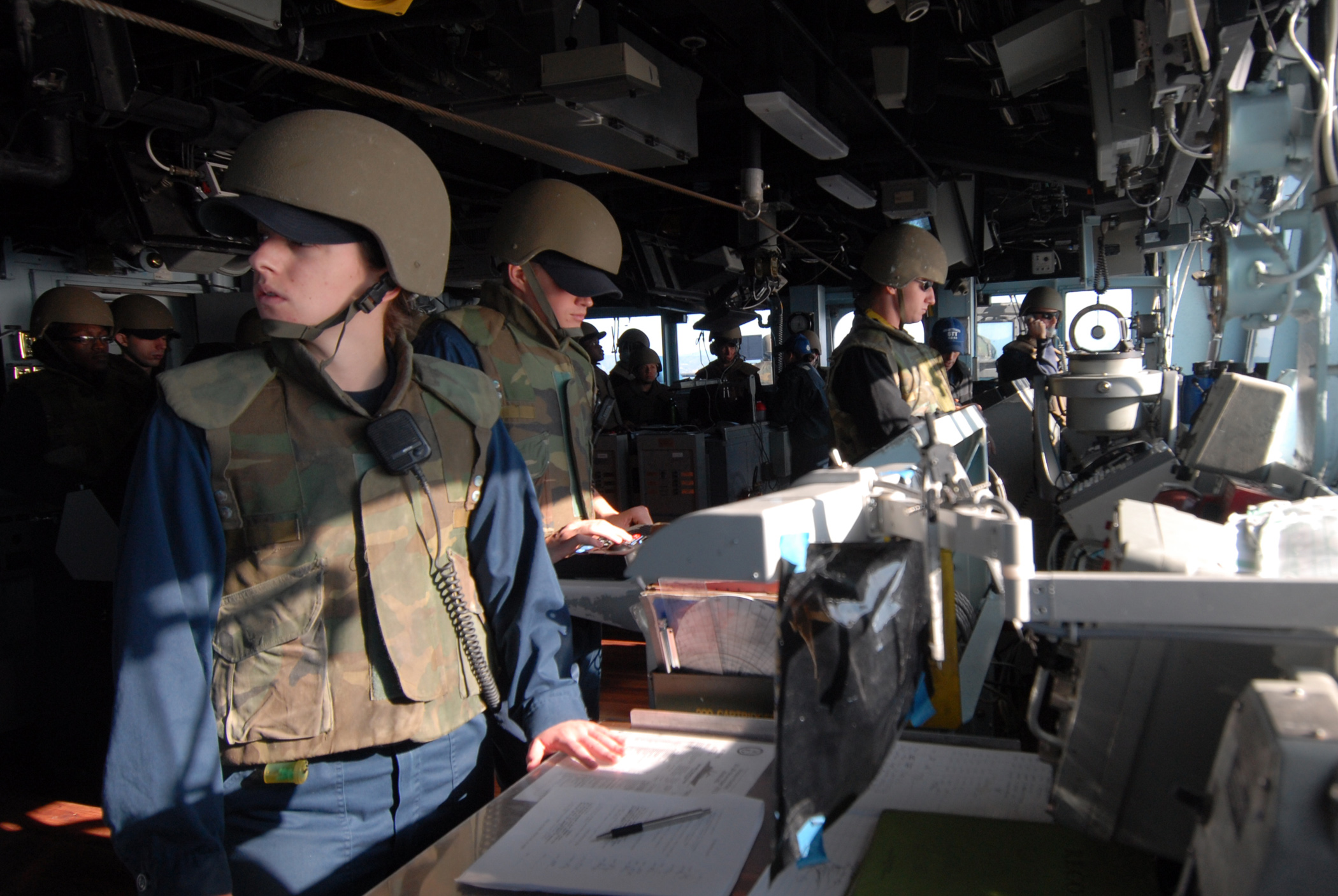 File:US Navy 111128-N-DU438-210 Officers stand watch in the ship's ...